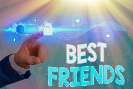 Photo pour Conceptual hand writing showing Best Friends. Concept meaning A an individual you value above other an individuals Forever buddies - image libre de droit
