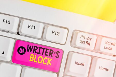 Text sign showing Writer S Block. Business photo showcasing Condition of being unable to think of what to write