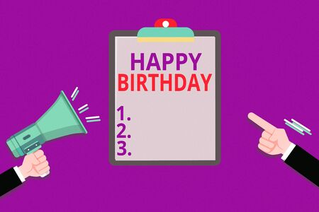 Foto de Conceptual hand writing showing Happy Birthday. Concept meaning The birth anniversary of an individual is celebrated with presents Hu analysis Hands Holding Megaphone Pointing Blank Clipboard - Imagen libre de derechos