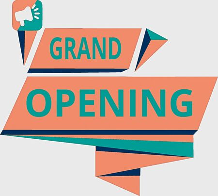 Foto de Conceptual hand writing showing Grand Opening. Concept meaning Ribbon Cutting New Business First Official Day Launching Quadrangular Abstract Shape Horizontal Graphic Megaphone - Imagen libre de derechos