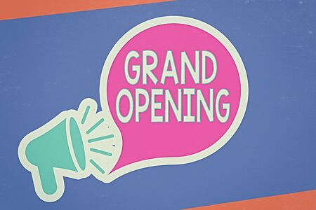 Foto de Handwriting text writing Grand Opening. Conceptual photo Ribbon Cutting New Business First Official Day Launching Megaphone with Loudness icon and Blank Speech Bubble in Sticker Style - Imagen libre de derechos