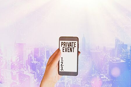Word writing text Private Event. Business photo showcasing Exclusive Reservations RSVP Invitational Seated