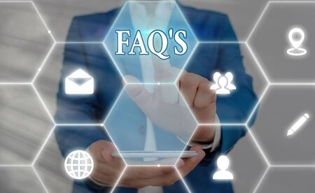 Photo for Word writing text Faq S. Business photo showcasing list of questions and answers relating to particular subject - Royalty Free Image
