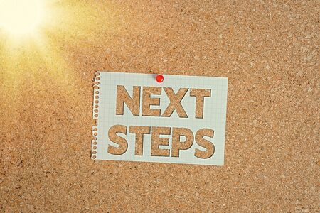 Photo pour Word writing text Next Steps. Business photo showcasing something you do or plan after you ve finished something else Corkboard color size paper pin thumbtack tack sheet billboard notice board - image libre de droit