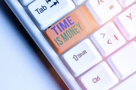 Writing note showing Time Is Money. Business concept for time is a valuable resource Do things as quickly as possible