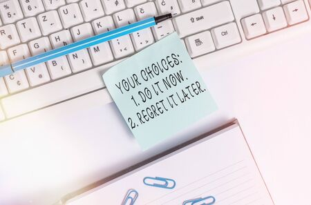 Photo for Writing note showing Your Choices 1 Do It Now 2 Regret It Later. Business concept for Think first before deciding Flat lay above blank copy space sticky notes with business concept - Royalty Free Image