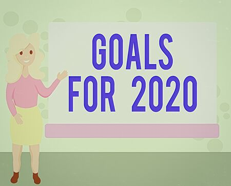 Photo pour Conceptual hand writing showing Goals For 2020. Concept meaning object of an individuals ambition or effort aim or desired result Female Hu analysis Presenting Rectangular Blank Whiteboard - image libre de droit