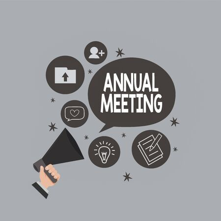Photo pour Text sign showing Annual Meeting. Business photo text yearly meeting of the general membership of an organization Hu analysis Hand Holding Megaphone Talking Different Topic and Speech Bubble - image libre de droit