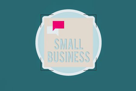 Word writing text Small Business. Business photo showcasing an individualowned business known for its limited size Two Empty Speech Bubble Overlapping on Blank Square Shape above a Circle