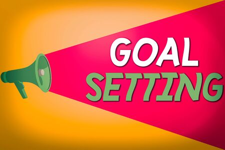 Text sign showing Goal Setting. Business photo text dream big motivational advice or reminder to take action Halftone Megaphone Loudspeaker with Volume Capacity Extend Loudness Level