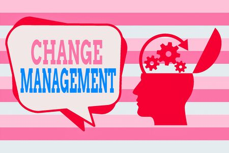Photo pour Text sign showing Change Management. Business photo showcasing development within a business or similar organization Hu analysis Head Silhouette Topside Open with Gears and Blank Halftone Bubble - image libre de droit