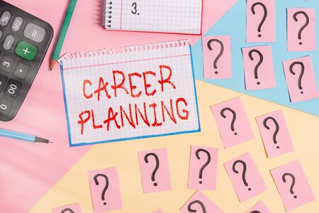 Writing note showing Career Planning. Business concept for stepwise planning of one s is possible professional career Mathematics stuff and writing equipment above pastel colours background