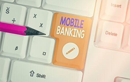 Word writing text Mobile Banking. Business photo showcasing to create financial transactions with the use of smartphone