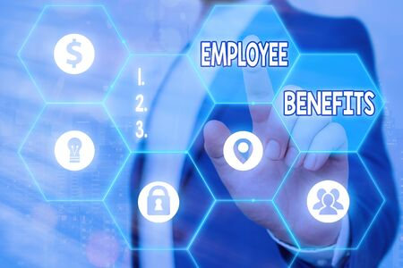 Photo for Writing note showing Employee Benefits. Business concept for form of compensation paid by employers to workers - Royalty Free Image