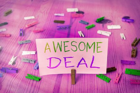 Word writing text Awesome Deal. Business photo showcasing impressive agreement given to other party for mutual benefit