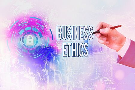 Photo pour Handwriting text writing Business Ethics. Conceptual photo appropriate policies which govern how a business operates - image libre de droit