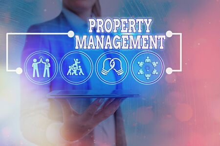 Photo pour Text sign showing Property Management. Business photo text the control, maintenance, and oversight of real estate - image libre de droit