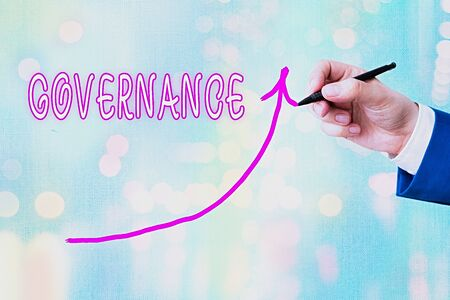 Writing note showing Governance. Business concept for exercised in handling an economic situation in a nation Digital arrowhead curve denoting growth development concept
