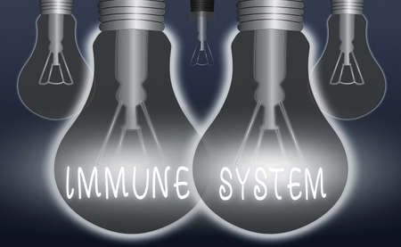 Handwriting text writing Immune System. Conceptual photo a bodily system that protects the body from foreign substances Realistic colored vintage light bulbs, idea sign solution thinking concept