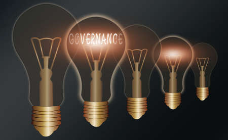 Handwriting text writing Governance. Conceptual photo exercised in handling an economic situation in a nation Realistic colored vintage light bulbs, idea sign solution thinking concept
