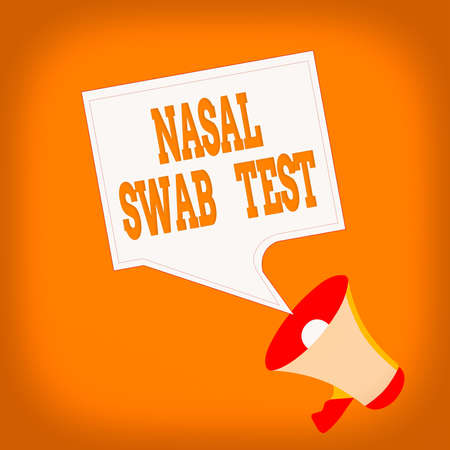 Word writing text Nasal Swab Test. Business photo showcasing diagnosing an upper respiratory tract infection through nasal secretion Megaphone and Blank Bordered Square Speech Bubble Public Announcement