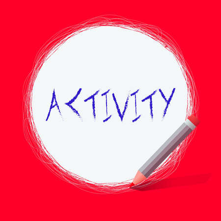 Text sign showing Activity. Business photo text the condition where many things are happening or move around Freehand Scribbling of circular lines Using Pencil on White Solid Circle