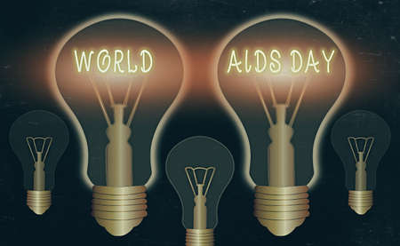 Photo for Writing note showing World Aids Day. Business concept for an international day to raised awareness of the AIDS pandemic Realistic colored vintage light bulbs, idea sign solution - Royalty Free Image