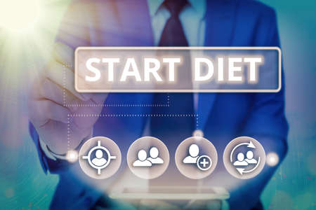 Photo pour Writing note showing Start Diet. Business concept for the practice of eating food in a regulated and supervised fashion Information digital technology network infographic elements - image libre de droit
