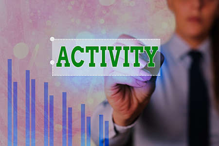 Text sign showing Activity. Business photo showcasing the condition where many things are happening or move around Arrow symbol going upward denoting points showing significant achievement