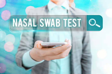 Text sign showing Nasal Swab Test. Business photo showcasing diagnosing an upper respiratory tract infection through nasal secretion Web search digital information futuristic technology network connection