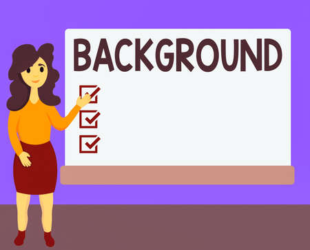 Word writing text Background. Business photo showcasing conditions that form the setting which something is experienced Female Hu analysis Standing Hand Presenting Rectangular Blank Whiteboard