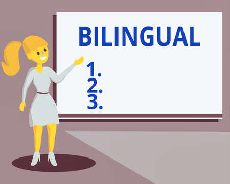 Conceptual hand writing showing Bilingual. Concept meaning using or able to use two languages especially with equal fluency Wo analysis Presenting Audio Visual Blank Projector Screen
