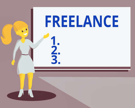 Conceptual hand writing showing Freelance. Concept meaning an individual who pursues a profession without a longterm commitment Wo analysis Presenting Audio Visual Blank Projector Screen