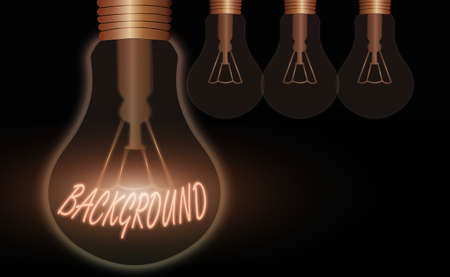 Conceptual hand writing showing Background. Concept meaning conditions that form the setting which something is experienced Realistic colored vintage light bulbs, idea sign solution