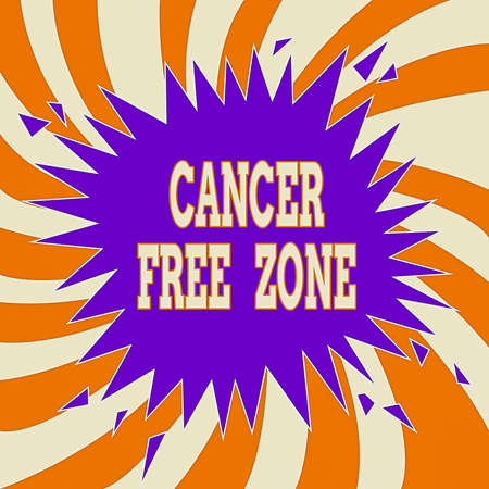 Photo for Handwriting text Cancer Free Zone. Conceptual photo supporting cancer patients and raising awareness of cancer Blank Exploding Cracking Breaking Speech Bubble Sound Effect on Burst - Royalty Free Image