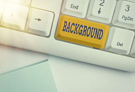 Text sign showing Background. Business photo text conditions that form the setting which something is experienced Different colored keyboard key with accessories arranged on empty copy space