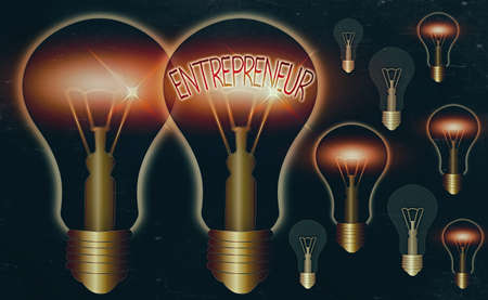 Word writing text Entrepreneur. Business photo showcasing one who organizes and assumes the risks of a business Realistic colored vintage light bulbs, idea sign solution thinking concept