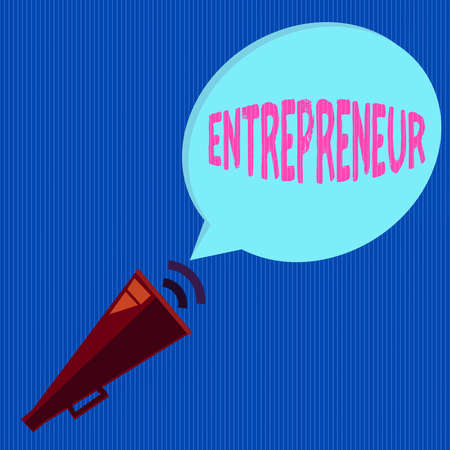 Word writing text Entrepreneur. Business photo showcasing one who organizes and assumes the risks of a business Piped Megaphone with Sound Effect icon and Blank Halftone Speech Bubble
