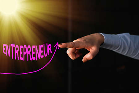 Text sign showing Entrepreneur. Business photo text one who organizes and assumes the risks of a business digital arrowhead curve rising upward denoting growth development concept