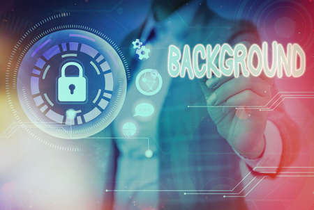 Writing note showing Background. Business concept for conditions that form the setting which something is experienced Graphics padlock for web data information security application system