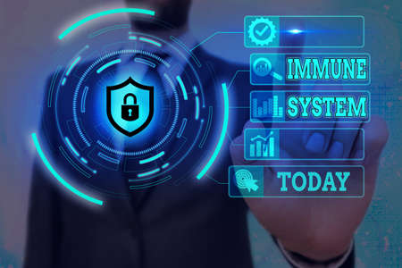 Word writing text Immune System. Business photo showcasing a bodily system that protects the body from foreign substances Graphics padlock for web data information security application system