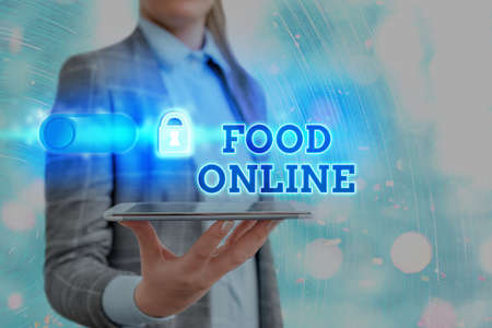 Foto de Text sign showing Food Online. Business photo showcasing asking for something to eat using phone app or website Graphics padlock for web data information security application system - Imagen libre de derechos