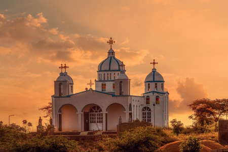 Photo for Beautiful architecture of Orthodox Christian Church in sunset, Oromia Region Ethiopia, Africa - Royalty Free Image