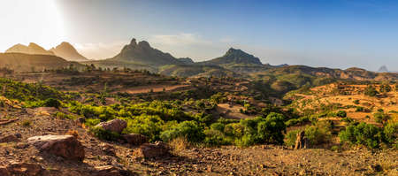 Photo for Beautiful sunrise highland landscape in Tigray region on the road to near city Mekelle. Ethiopia, Africa wilderness - Royalty Free Image