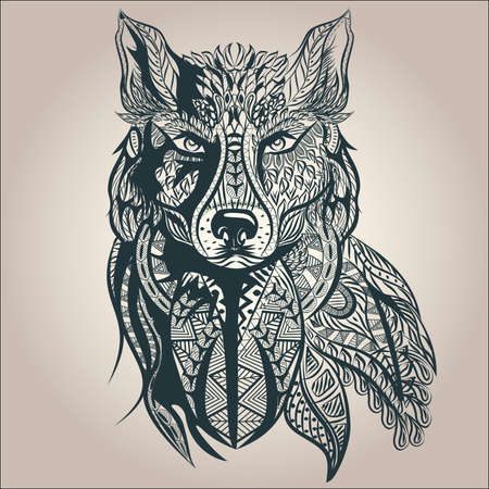 Illustration pour Ornamental vintage wolf predator, black and white tattoo, decorative retro style. Isolated vector illustration - image libre de droit