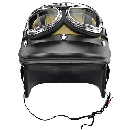 Biker motorcycle helmet with goggles and protective ears, front view. 3D graphic object on white background isolated