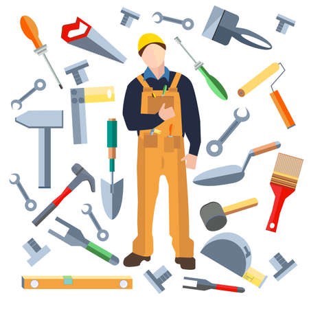 Set of isolated objects, builder into a flat style. Icons construction materials hammer, putty knife, screwdriver, saw, shovel.