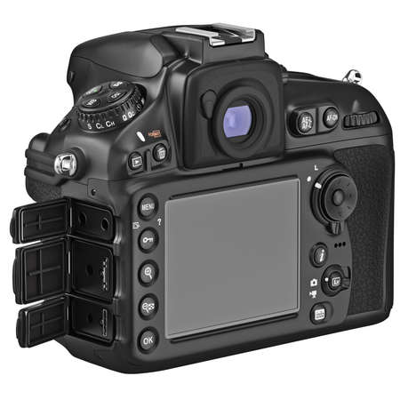 Camera with large LCD display, lids open. 3D graphic