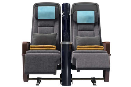 Aircraft passenger chairs with pillows, front view. 3D graphic