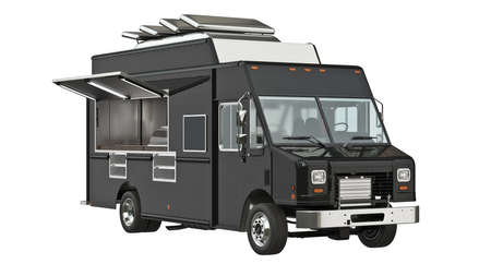 Photo for Food truck eatery cafe on wheels. 3D isolated white background - Royalty Free Image